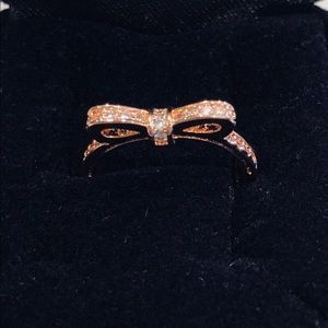 Rose Gold Bow Ring w sparkling CZs